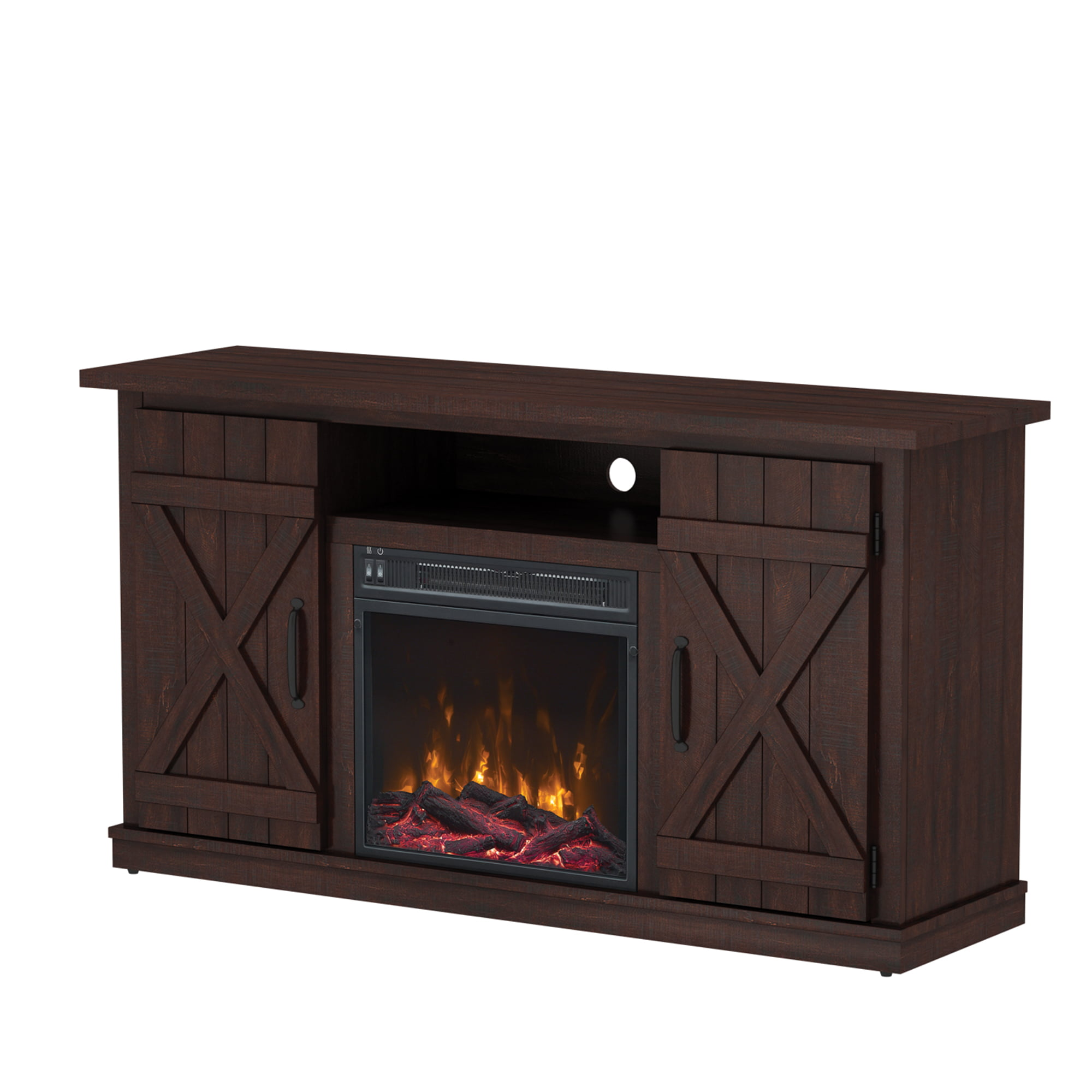 terryville saw cut espresso tv stand for tvs up to  with electricfireplace. fireplace tv stands  walmartcom