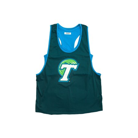 Tulane University Mesh Tank with Attached Sporty Bralette- Green Wave