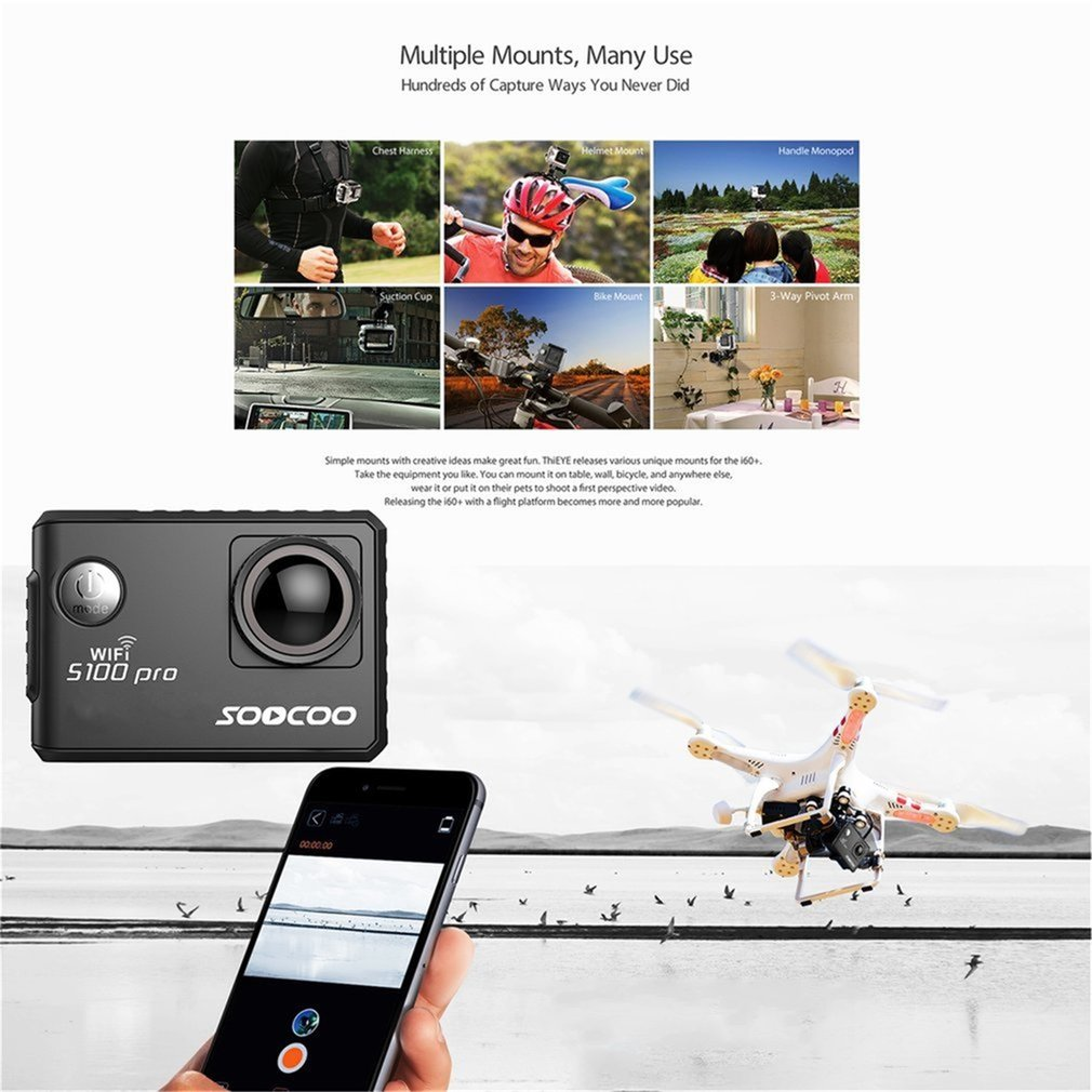 SOOCOO Voice Control S100Pro Waterproof Action Camera Wifi 4K HD 2.0 Touch Screen Sports Camera With Microphone GPS Extension On Sale