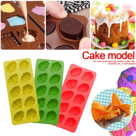 Hit Biscuit (Hot Sale 10 Easter Egg Silicone Chocolate Mold DIY Baking Biscuit Cake Mold Random Colors )