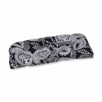 """44"""" Black and White Paisley Outdoor Patio Wicker Loveseat Cushion"""