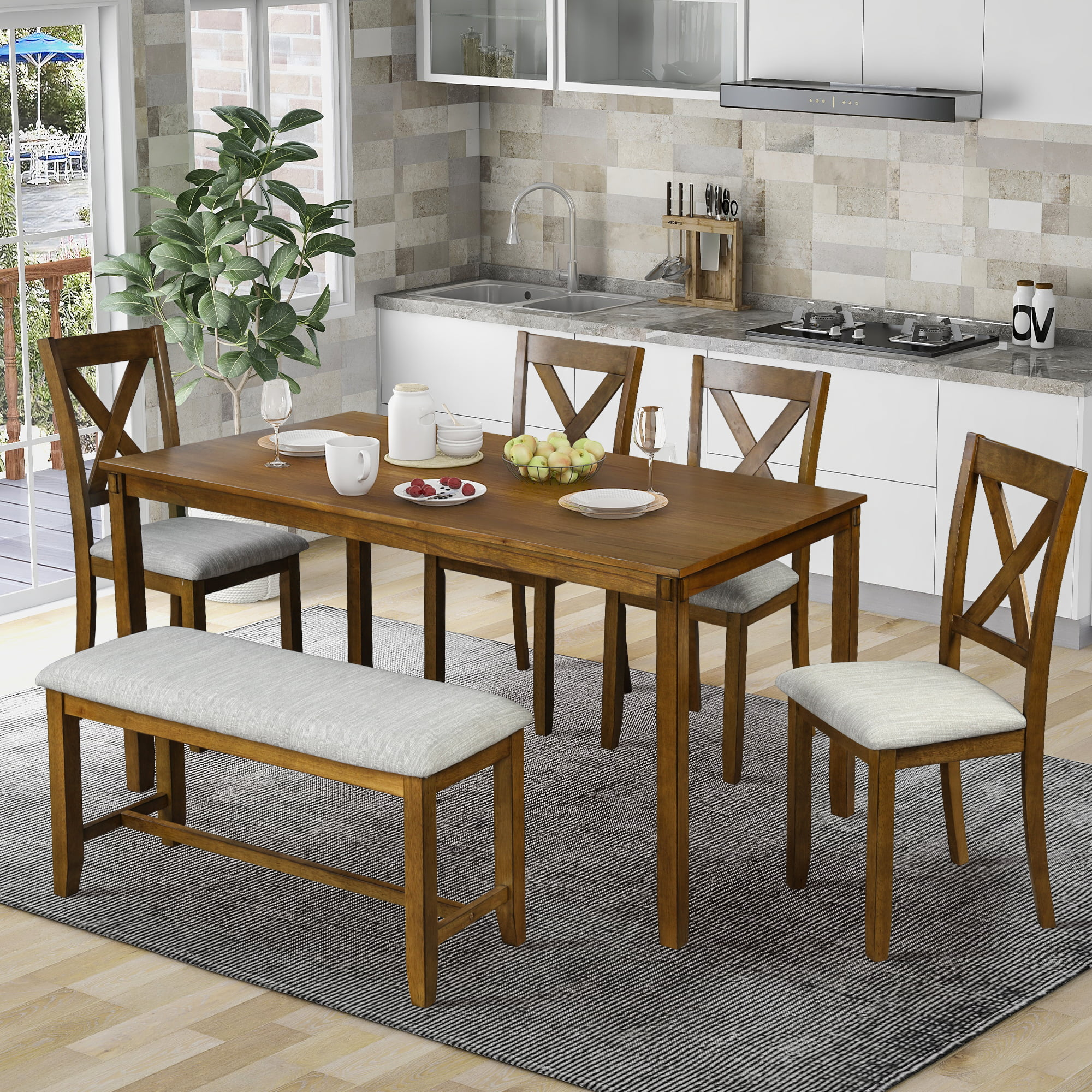 6 Piece Dining Table Set Modern Home Dining Set With Table Bench 4 Cushioned Chairs Wood Rectangular Table And Chair Set Oak Finish Kitchen Table Set For Dining Room Brown
