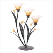 SWM 38947 Amber Lilies Tealight Holder