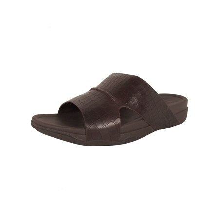 Croc Leather (FitFlop Mens Bando Leather Croc Slide Slip On Sandal Shoes)