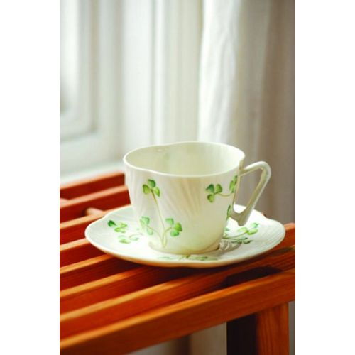 Belleek Harp Shamrock Teacup & Saucer