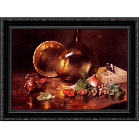 Still Life (Brass and Glass) 24x20 Black Ornate Wood Framed Canvas Art by Chase, William (How To Choose Glasses Frames)