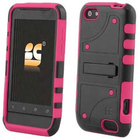 BLACK PINK DUO-SHIELD RUBBER SKIN HARD CASE COVER SCREEN PROTECTOR FOR HTC ONE-V
