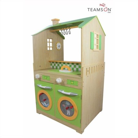 teamson kids green play kitchen with dual washers set. Black Bedroom Furniture Sets. Home Design Ideas