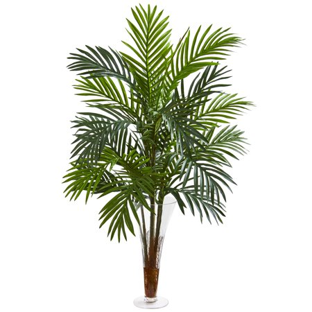 Nearly Natural 3-Ft. Areca Palm Artificial Plant in Vase - Artificial Palm Fronds