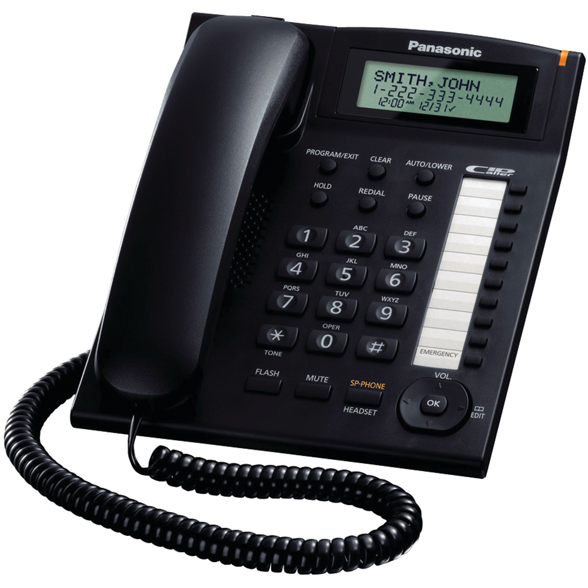 Panasonic KX-TS880B Single-line Corded Integrated Phone System with 10 One-Touch Dialer Stations, Black