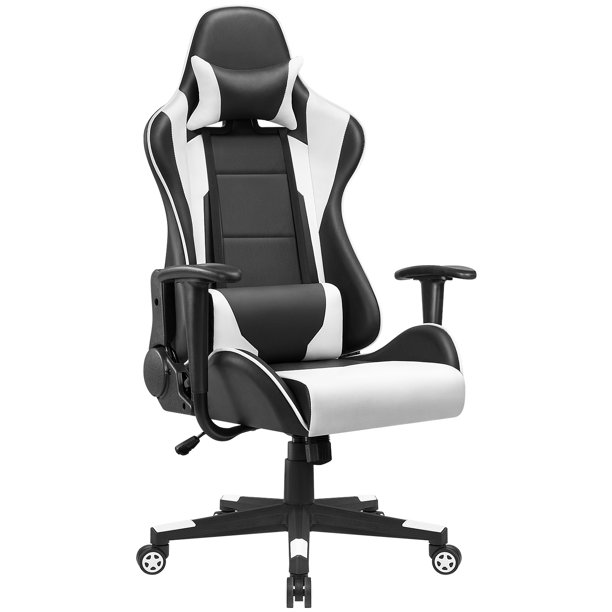 Walnew High Back Gaming Chair Swivel PU Leather Computer Chair with Lumber Support and Headrest, White