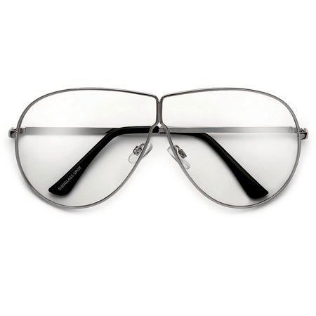 Oversize 70mm Thin Metal Wire Frame Ultra Chic Clear Aviator