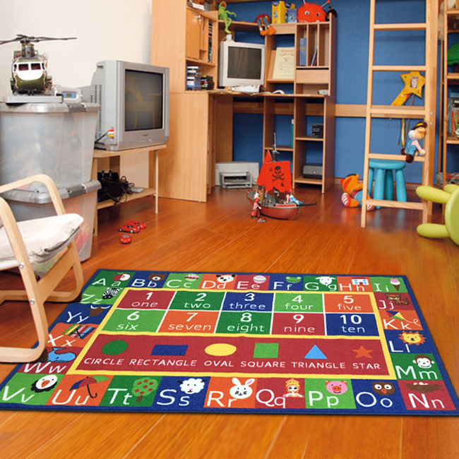 "Kids Abc Alphabet Numbers Educational Area Rug Non Skid Rug Size 6'7""x9'2"""