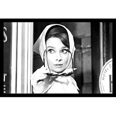 buyartforless FRAMED Audrey Hepburn with Scarf and Sunglasses 36x24 ...