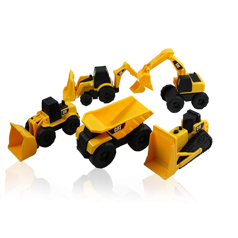 CAT Mini Machine Construction Truck Toy Cars Set of 5, Dump Truck,  Bulldozer, Wheel Loader, Excavator and Backhoe Free-Wheeling Vehicles  w/Moving