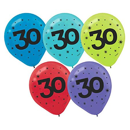 Themes For 30th Birthday (The Party Continuous 30th Birthday Party Printed Balloon Decoration, Pack of 15, Multi , 12
