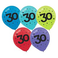 "The Party Continuous 30th Birthday Party Printed Balloon Decoration, Pack of 15, Multi , 12"" Latex"