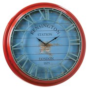 Evergreen Enterprises Large Distressed Red and Blue Metal 28.50 in Wall Clock