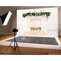 GreenDecor Polyester 7x5ft Christmas Photography Backdrop Fireplace Decorations Pine Branch Fire Wood White Wall Light Brown Blanket Scene Photo Background Children Baby Adults Portraits Backdrop