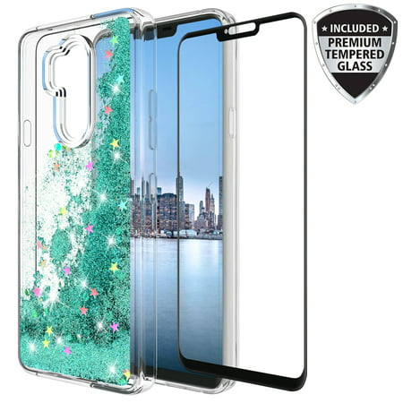 LG G7 Thinq Case With Tempered Glass Screen Protector, KAESAR Slim Sleek Quicksand Glitter Sparkly Bling Cute Liquid Shiny Luxury Clear Soft TPU Bumper Protective Cover for LG G7 (Teal)