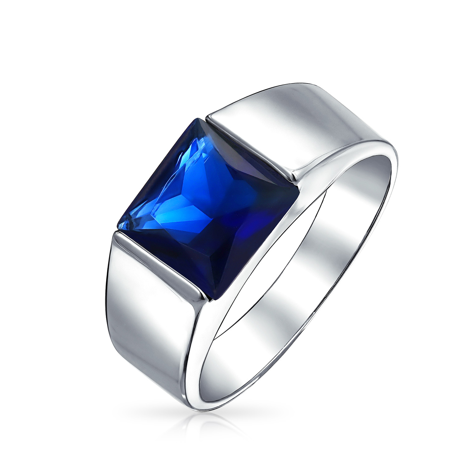 It is an image of 43CT Princess Cut Square Solitaire Simulated Blue Sapphire AAA CZ