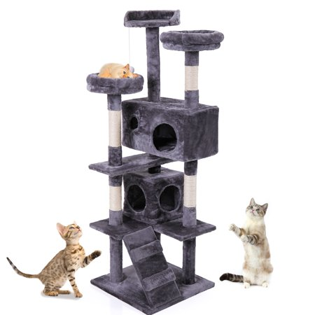 "Jaxpety 60"" Pet Cat Tree Kitty Play House Tower Condo Bed Scratch Post Toy Ball, Gray"