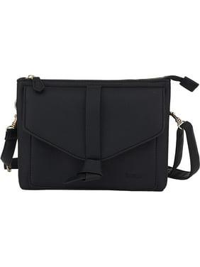 Kensie Small Crossbody Bag - Womens Fashion Handbag Double Gusset Sling Purse - Black