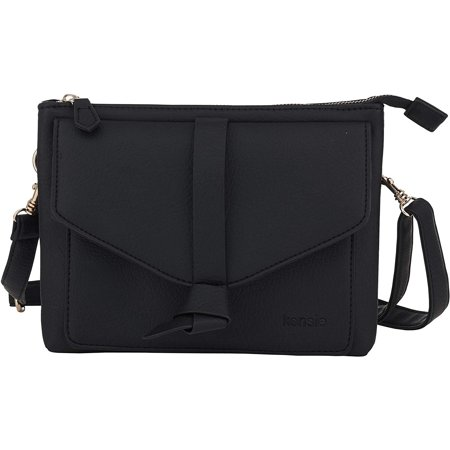 Kensie Small Crossbody Bag - Women's Fashion Handbag Double Gusset Sling Purse - Black