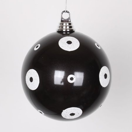 Candy Black with White Glitter Polka Dots Size Christmas Ball Ornament 6