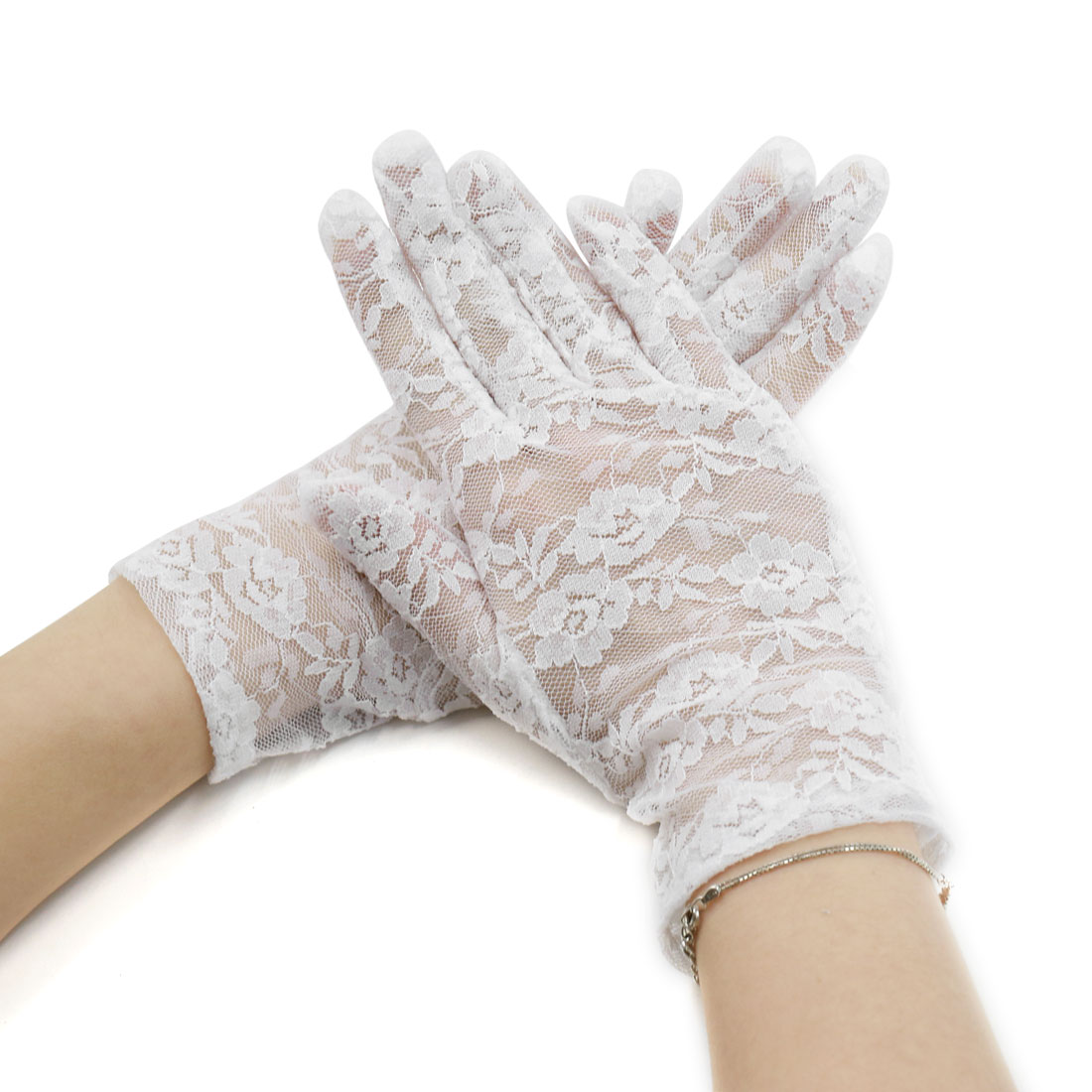 Women's Floral Lace Wrist Length Full Finger Gloves Pair White