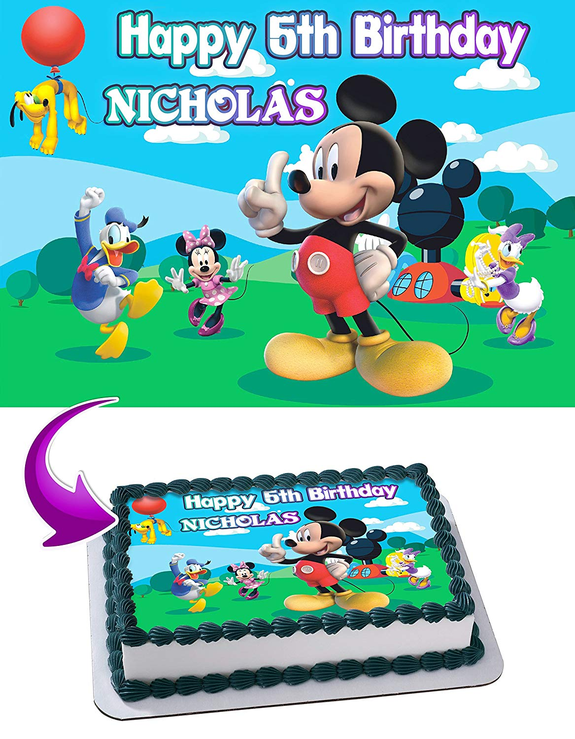 Mickey Mouse Clubhouse - Edible Cake Topper - 11.7 x 17.5 ...