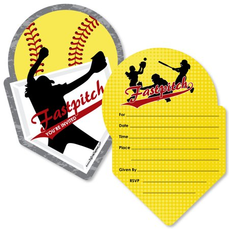 Grand Slam - Fastpitch Softball - Shaped Fill-In Invitations - Birthday Party or Baby Shower Invitation Cards -Set of 12 - Softball Party Favors