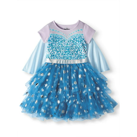 Elsa Frozen Cosplay Tiered Tutu Tulle Dress With Detachable Cape (Little Girls & Big