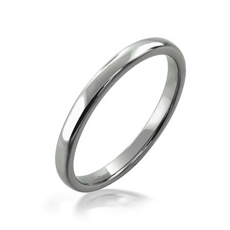 - Basic Very Thin Cigar Wedding Band Ring Comfort Fit For Men Women Silver Tone Tungsten Shiny Polished Finish 2mm