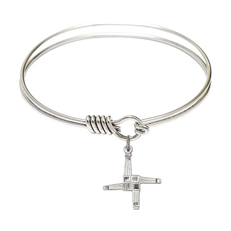 6 1 4 Inch Round Eye Hook Bangle Bracelet W  St  Brigid Cross Charm Sterling Silver Medal