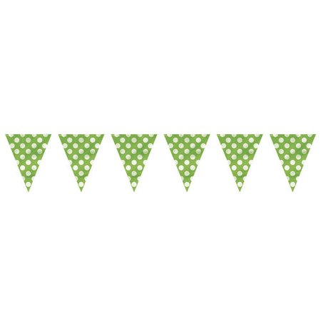 Lime Green Polka Dot Party Decor Pennant Flag Banner, 12ft - image 2 of 3
