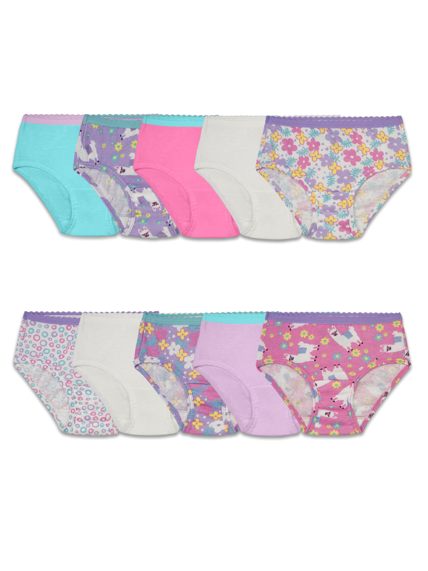 Assorted Cotton Brief Underwear, 10 Pack (Toddler Girl)