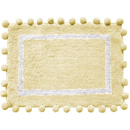 Better homes gardens ivory cotton bath rug with pom pom border for Better homes and gardens bathroom rugs