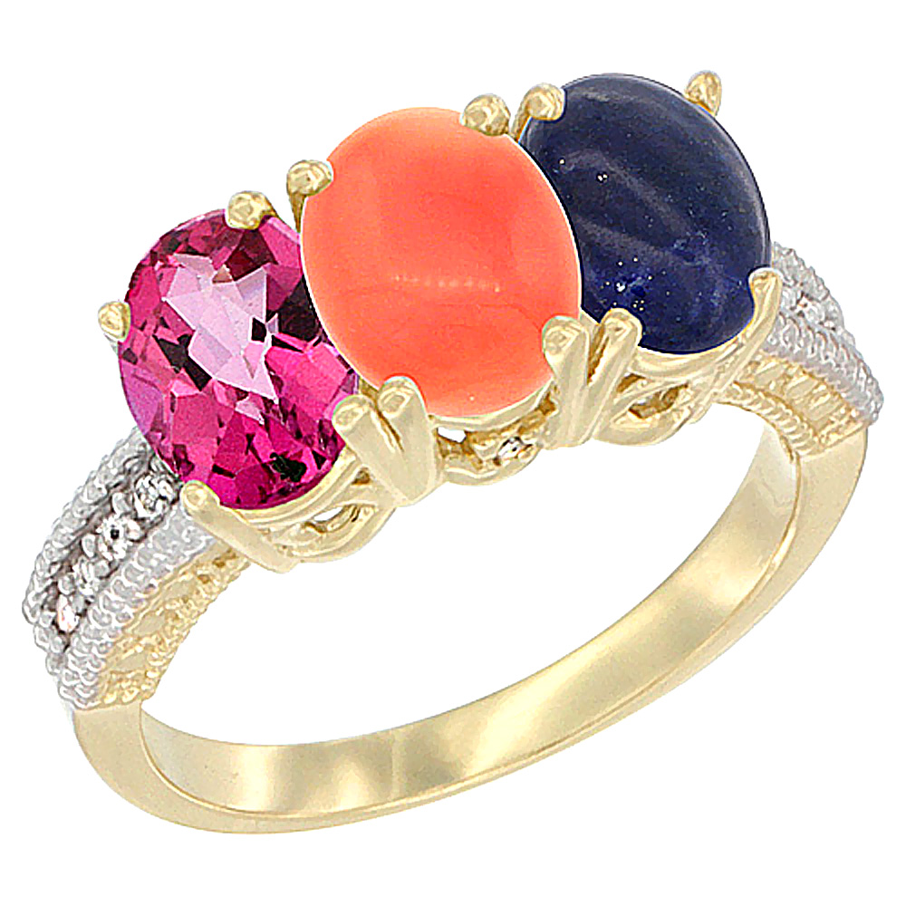 14K Yellow Gold Natural Pink Topaz, Coral & Lapis Ring 3-Stone 7x5 mm Oval Diamond Accent, sizes 5 10 by WorldJewels