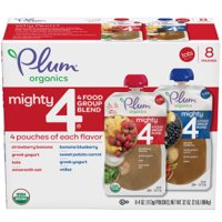 (8 Pouches) Plum Organics Mighty 4, Baby Food Stage 4, Strawberry Banana, Banana Blueberry Variety Pack, 4 oz