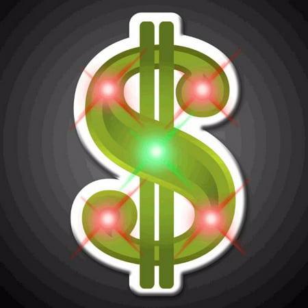 Dollar Sign Flashing Body Light Lapel Pins