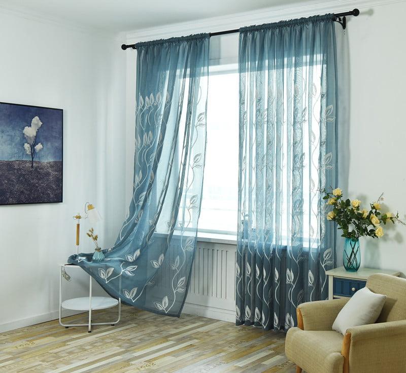 Green Leaves Living Room Bedroom Tulle Voile Curtain Sheer Panel Drape 100*250cm