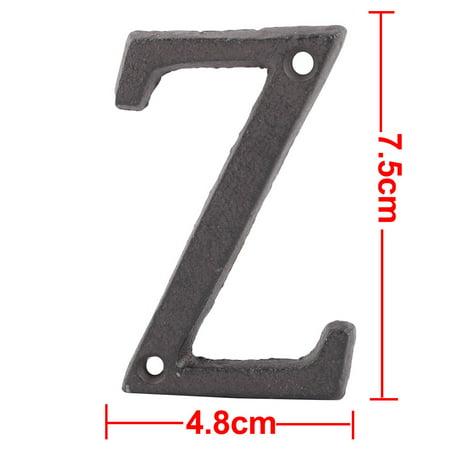 Street Cast Iron Z Shaped Vintage Style Door Letter Alphabet Sign Label Black - image 3 of 5