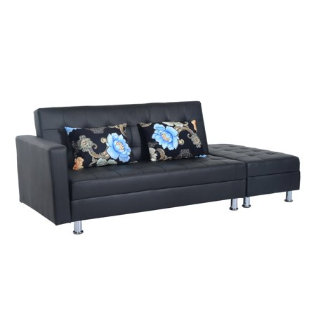 Twin Size Faux Leather Convertible Sleeper Sofa Bed With Storage Ottoman Black
