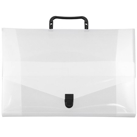 JAM Paper Plastic Portfolio Briefcase with Handles, Small, 10 x 15 x 2, Clear Grid, Sold Individually