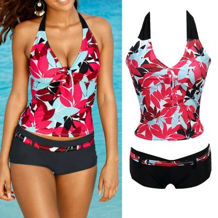 Bikini Fashion Swimsuit (Fashion Women Floral Bikini Set Halter Swimsuit Push Up Swimwear Bathing Suit)