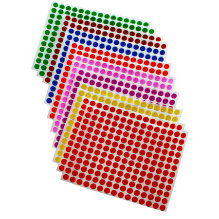 "Colored dot stickers ¼"" inch 8mm Sticker Dot in Green, Yellow, Pink, Purple, Orange, Brown, Blue and Red, 2880 Pack by Royal Green - Colored Dot Stickers"