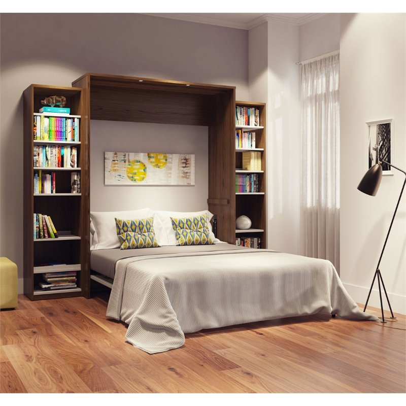 "Cielo by Bestar Classic 104"" Queen Wall Bed kit in Oak Barrel and White"