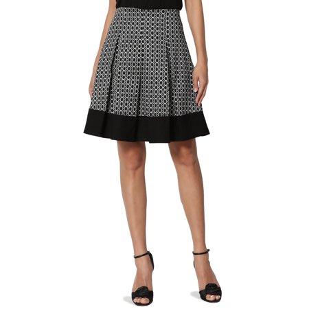 - TheMogan Junior's Medallion Print Jacquard Box Pleated A-Line Short Skirt