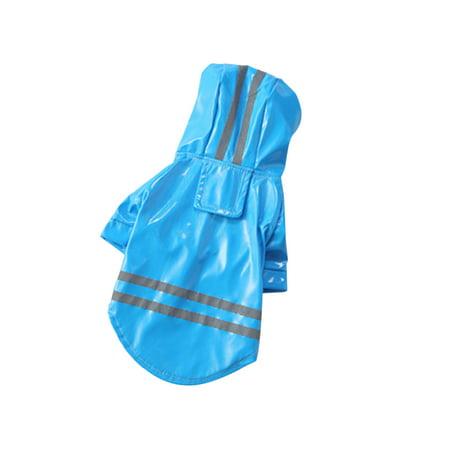 Pet Dog Reflective Raincoat Dog Rain Jacket With Hood Dog Rain Poncho 100% Waterproof Grey Reflective Stripe for Pet Dog Gone Smart Jacket